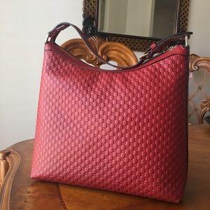 Gucci Red Guccissima Hobo Bag